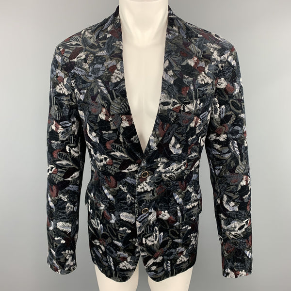 SALVATORE FERRAGAMO 38 / IT 48 Leaf Print Multicolor Velvet Embroidered Sport Coat Jacket