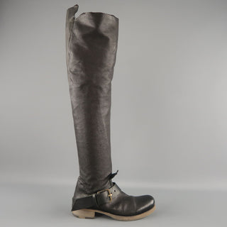 GUIDI Size 7 Black Leather Thigh High Ankle Strip Biker Boots