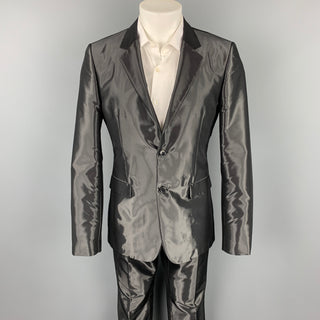 CALVIN KLEIN COLLECTION Size 40 Black Metallic Viscose Blend Notch Lapel Suit