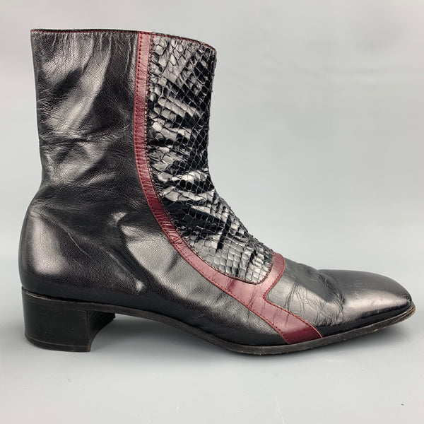 MIU MIU Size 10 Black & Burgundy Two Toned Leather Square Toe Boots
