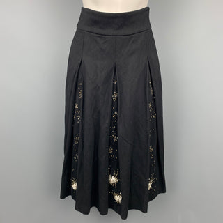 DRIES VAN NOTEN Size 4 Black Sequined Wool Blend Pleated Skirt