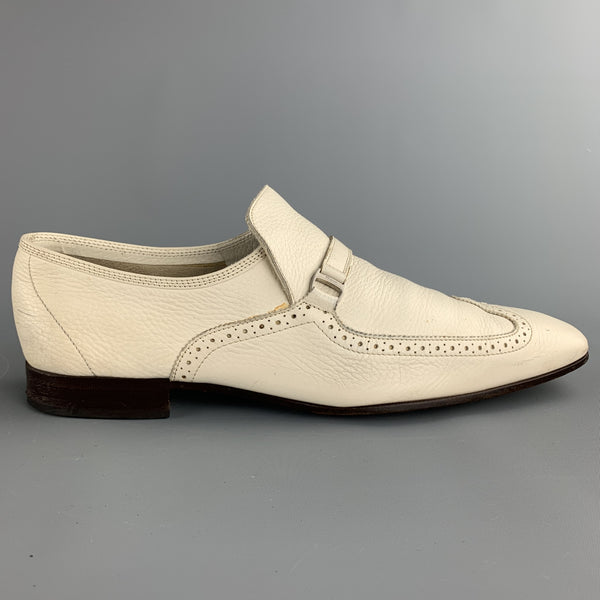 SALVATORE FERRAGAMO Sammy Size 11 Ivory Perforated Leather Slip On Loafers