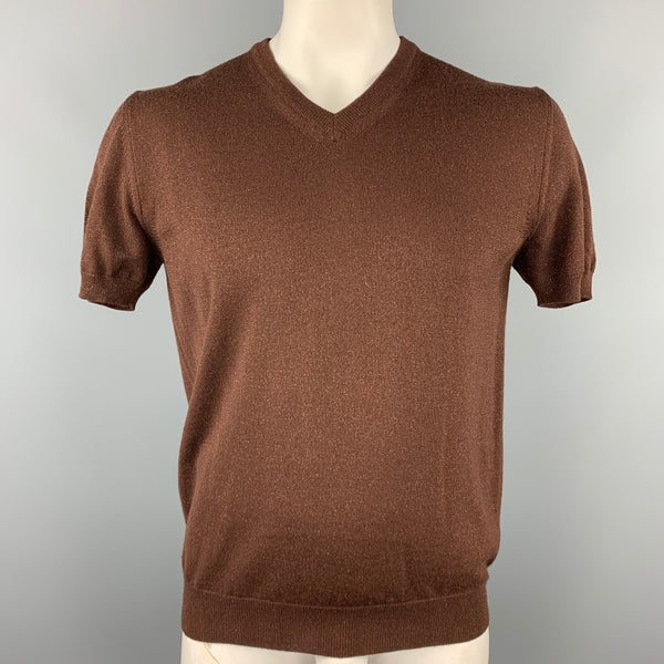 DOLCE & GABBANA Size L Brown Sparkle Wool Blend Short Sleeve Pullover