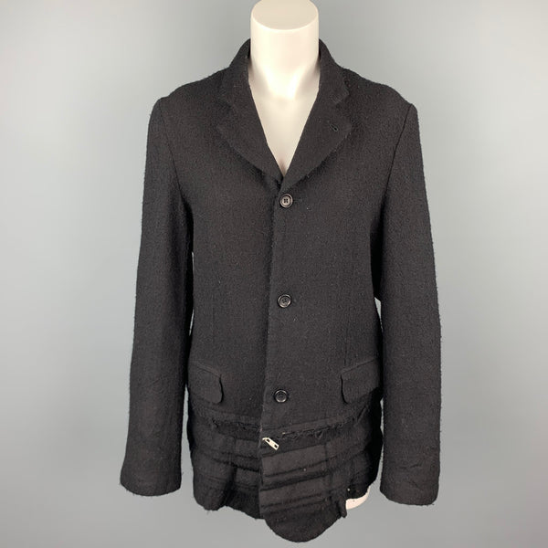 COMME des GARCONS Black Textured Wool Notch Lapel Jacket
