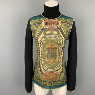JEAN PAUL GAULTIER x BERGDORF GOODMAN Size L Black & Multi-Color Print Wool Pullover
