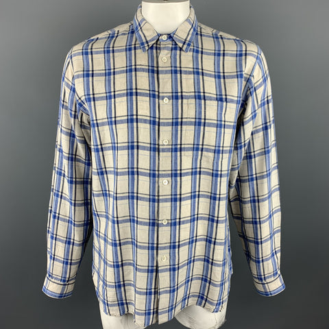 MARGARET HOWELL Size XL Grey & Blue Plaid Linen Button Up Long Sleeve Shirt