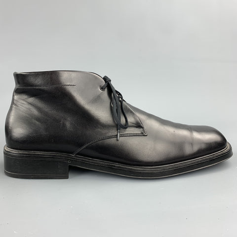 SALVATORE FERRAGAMO Size 11.5 Black Leather Chukka Boots