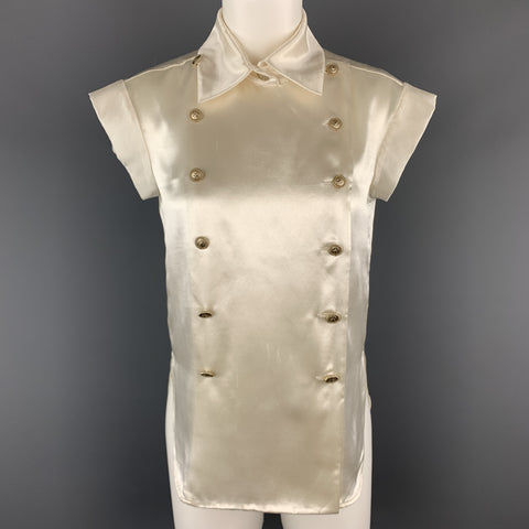 CHANEL Size 4 Cream Satin Double Breasted Military Blouse