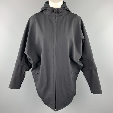 ZERO + MARIA CORNEJO Size 4 Black Nylon Blend Batwing Hooded Jacket