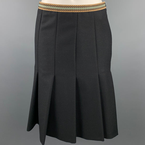 M MISSONI Size 6 Black Twill Wool Pleated A-Line Skirt