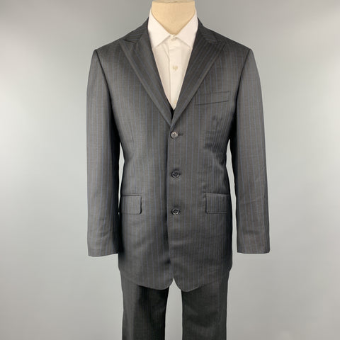 DAVID AUGUST Size 40 Charcoal & Blue Stripe Wool Notch Lapel 34 x 30 Suit