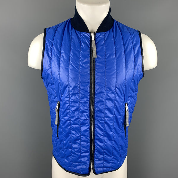 MICHAEL BASTIAN Size S Blue Quilted Polyamide Zip Up Vest