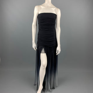 BCBGAXAZRIA Size 6 Black Ombre Chiffon Silk Cocktail Dress