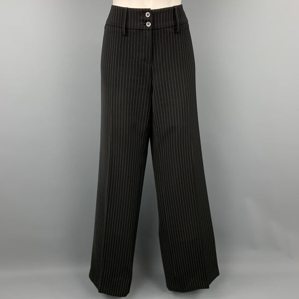 ARMANI COLLEZIONI Size 8 Black Pinstripe Polyester Blend Wide Leg Dress Pants