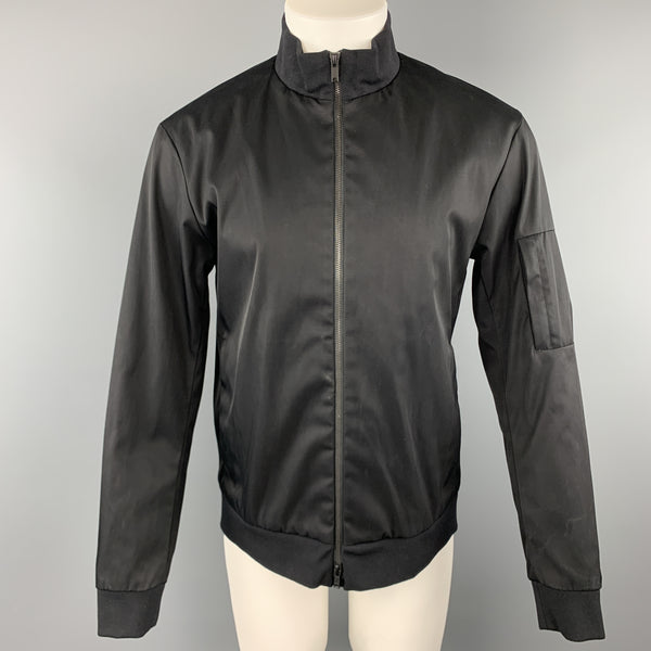 THEORY Size L Black Cotton Blend Twill High Collar Bomber Jacket