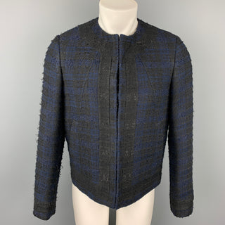 GIVENCHY Size 38 Navy & Black Tweed Acrylic Blend Collarless Jacket