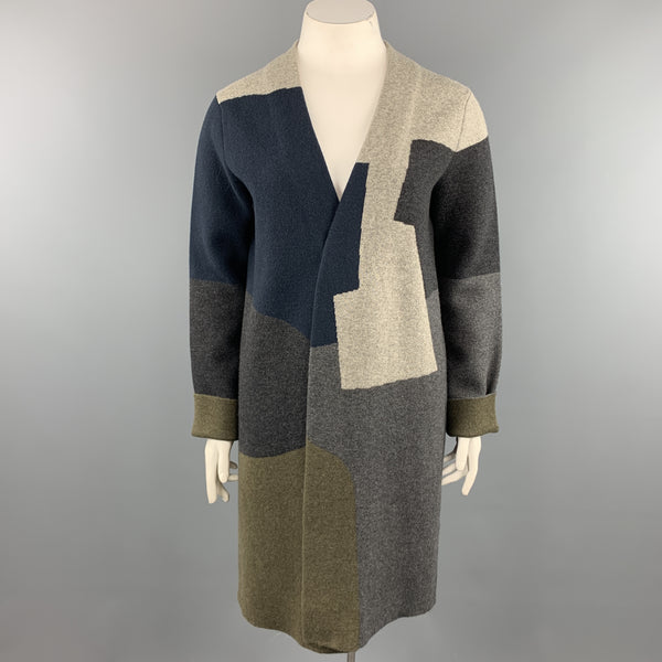 JIL SANDER Size 12 Grey Navy & Olive Green Color Block Cashmere Coat