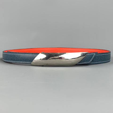 ROBIN KAHN Reversible Size 32 Blue & Orange Leather Sterling Silver Belt