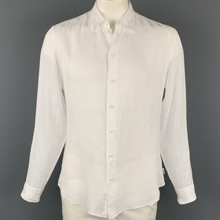 ARMANI COLLEZIONI Size L White Linen Button Up Long Sleeve Shirt