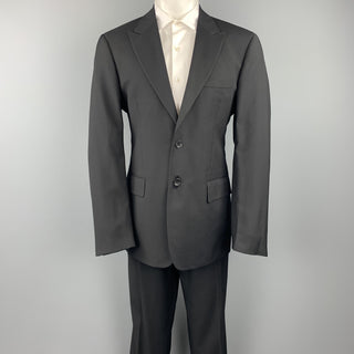 VERSUS by GIANNI VERSACE Size 38 Regular Black on Black Checkered Peak Lapel Suit