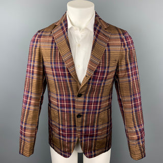 TOMORROWLAND Size 36 Brown & Burgundy Plaid Rayon Blend Sport Coat