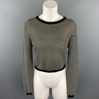 RALPH LAUREN COLLECTION Size S Black & White Knitted Stripe Rayon Blend Crew-Neck Pullover