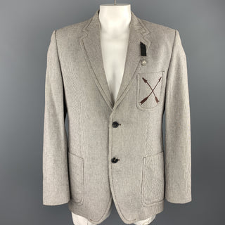 VIKTOR & ROLF X H&M Size 44 Brown & White Nailhead Cotton Arrow Pocket Sport Coat