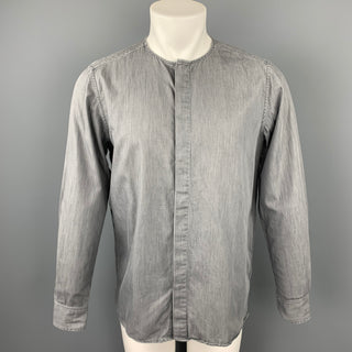 STEVEN ALAN Size S Grey Cotton Collarless Long Sleeve Shirt