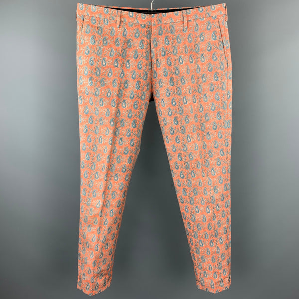 PAUL SMITH Size 36 Salmon Paisley Cotton Zip Fly Casual Pants