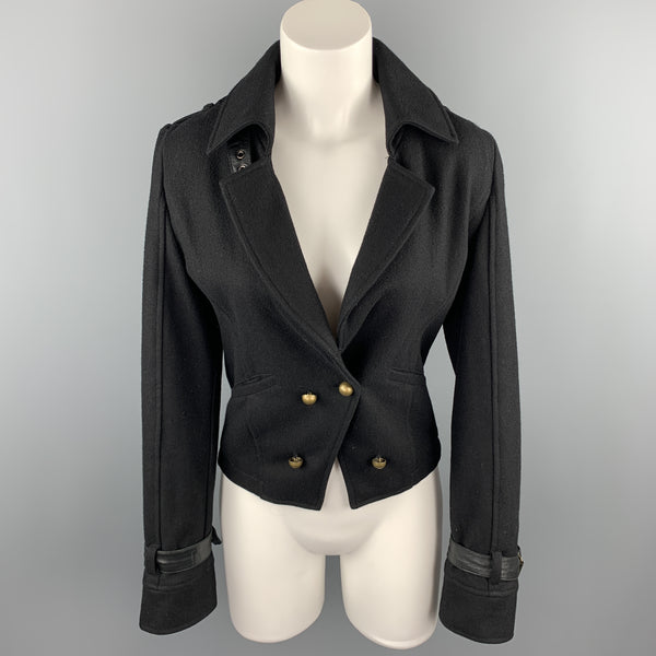 LaROK Size 6 Black Fabric Belted Collar Double Breasted Coat