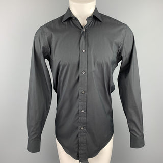 RALPH LAUREN Black Label Size S Black Cotton Blend Button Up Long Sleeve Shirt