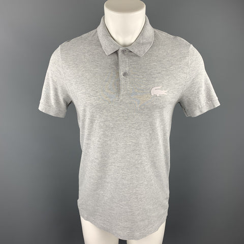 LACOSTE Size M Light Gray Cotton Buttoned Polo