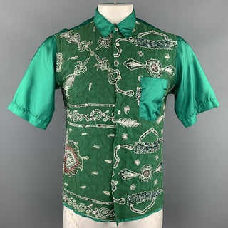 JUNYA WATANABE MAN Size L Emerald Green Embroidered Short Sleeve Shirt