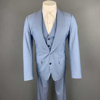 DOLCE & GABBANA Size 36 Regular Light Blue Wool / Silk Shawl Lapel Suit