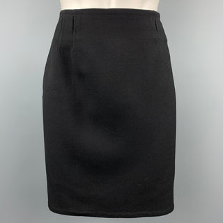 RALPH LAUREN COLLECTION Size 4 Black Twill Wool Blend Pencil Skirt