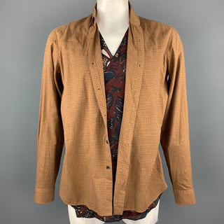 DRIES VAN NOTEN Size L Tan Window Pane Cotton / Cupro Vest Wrap Layered Long Sleeve Shirt