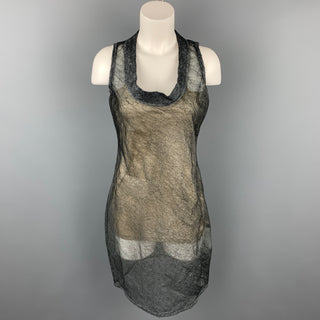 CALVIN KLEIN COLLECTION Size 4 Grey Textured Silk Sleeveless Shift Dress