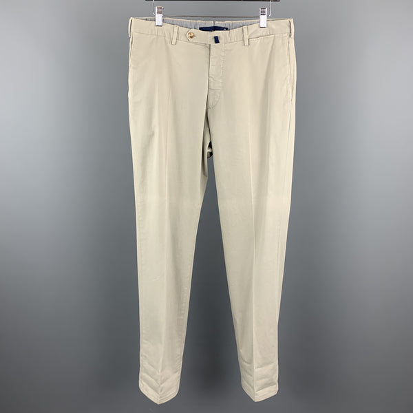 INCOTEX Size 34 x 35 Ivory Cotton Zip Fly Casual Pants