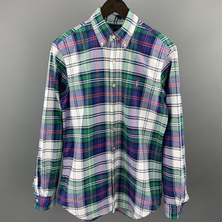 RALPH LAUREN Size S Blue & Green Plaid Cotton Button Down Long Sleeve Shirt