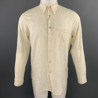 PAUL SMITH Size M Beige Embroidered Floral Pattrn Cotton Shirt
