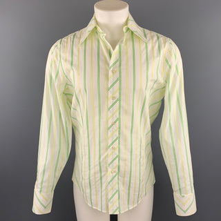 J. LINDEBERG Size M Green & White Stripe Cotton Button Up Long Sleeve Shirt