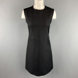CELINE Size 2 Black Structured Sleeveless A Line Shift Dress