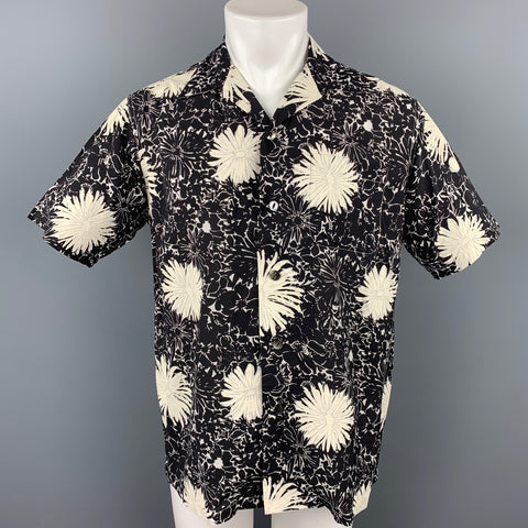 JUNYA WATANABE S/S 17 Size M Black & White Floral Cupro / Rayon Camp Short Sleeve Shirt