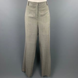 AKRIS Size 10 Grey Glenplaid Gabardine Wide Leg Dress Pants