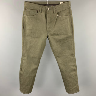 LEVI'S 501 Size 32 Olive White Oak Cone Denim Button Fly Jeans