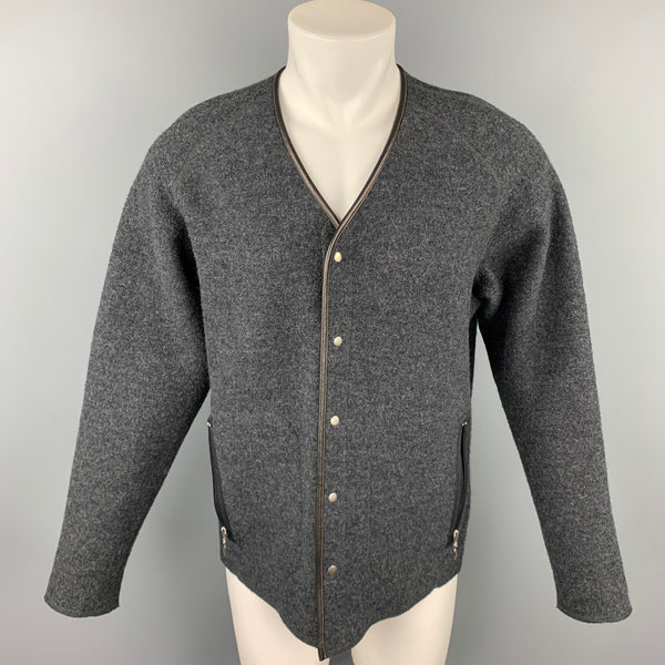 RYAN ROBERTS Size M Charcoal Textured Wool Snaps Cardigan