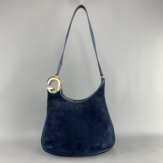 Vintage GUCCI Navy Blue Suede Gold Tone GG Shoulder Bag