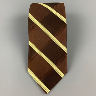 TED BAKER Brown & Green Diagonal Stripe Silk Tie