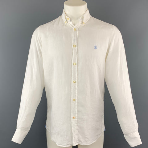 EL GANSO Size S Solid White Linen Button Down Long Sleeve Shirt