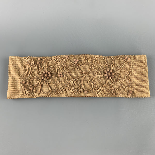 DONNA KARAN Size S Woven Beige Beaded Flower Embroidered Elastic Waist Belt